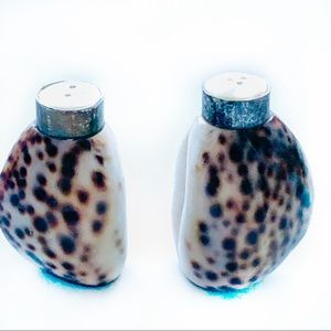 Vintage Tiger Cowrie Shell Salt & Pepper Shakers